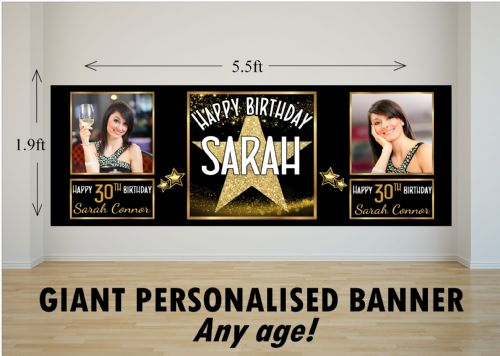 Personalised GIANT Large Star Sparkle Happy Birthday PHOTO Poster Banner N81